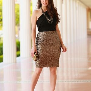 Black & Gold Sequin Laundry by Shelli Segal Dress